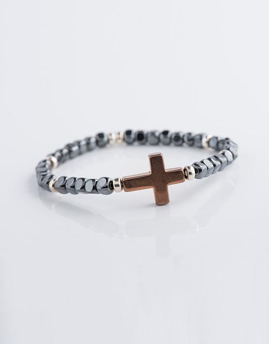 Bracelet homme Hématite avec croix et cuivre Stella Ambrata