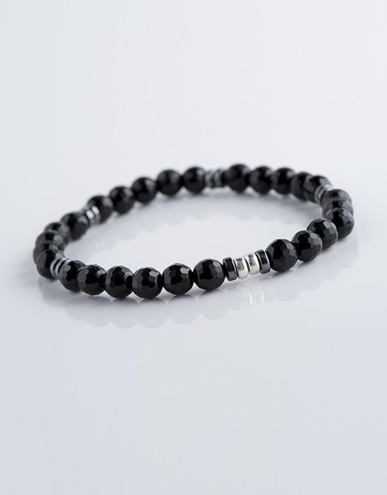 Stella Ambrata Bracelet Homme Onyx avec rondelles