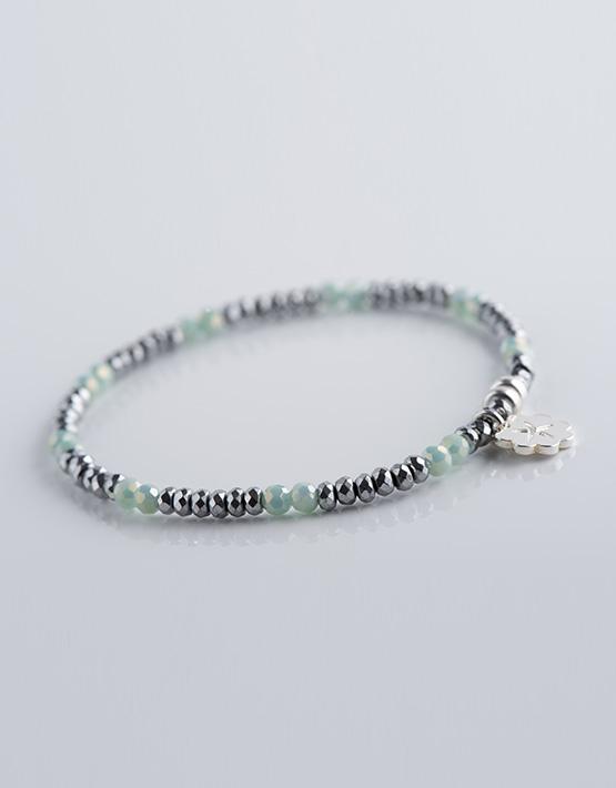 Stella Ambrata femme Perles rondes vert pâle avec hématite